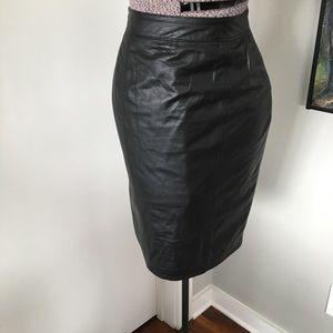 VINTAGE Soft Leather Pencil Skirt